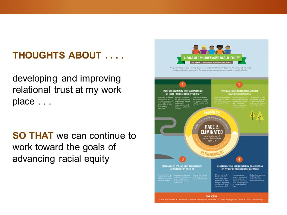 THOUGHTS ABOUT.... developing and improving relational trust at my work place... SO THAT we can continue to work toward the goals of advancing racial