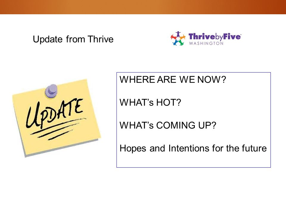 Update from Thrive WHERE ARE WE NOW? WHAT's HOT? WHAT's COMING UP? Hopes and Intentions for the future