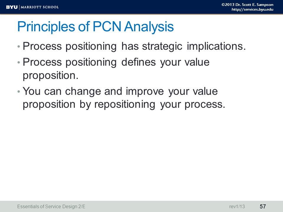 ©2013 Dr. Scott E. Sampson http://services.byu.edu Principles of PCN Analysis Process positioning has strategic implications. Process positioning defi