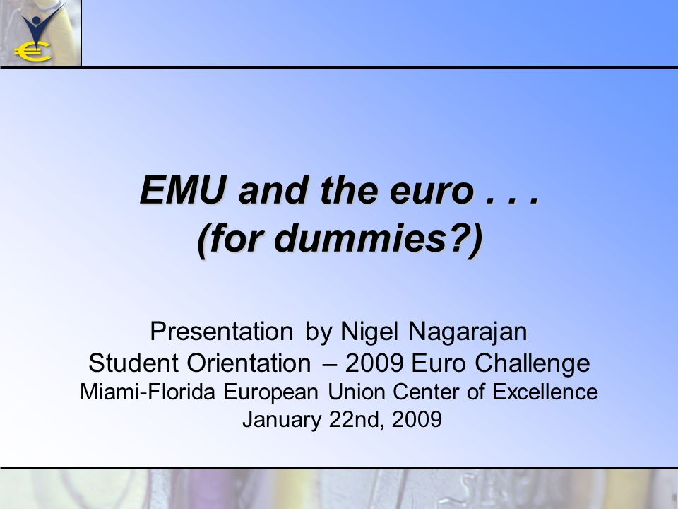 EMU and the euro...