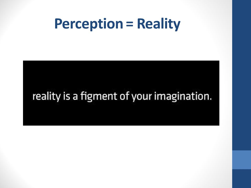 Perception = Reality