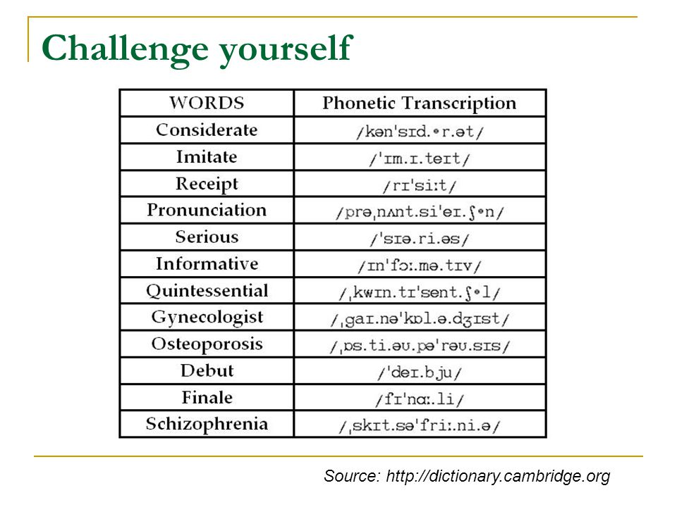Challenge yourself Source: http://dictionary.cambridge.org