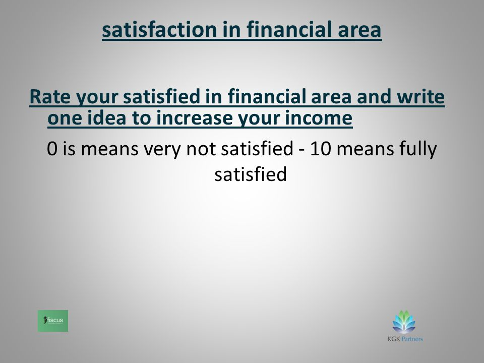 satisfaction in financial area Rate your satisfied in financial area and write one idea to increase your income 0 is means very not satisfied - 10 means fully satisfied