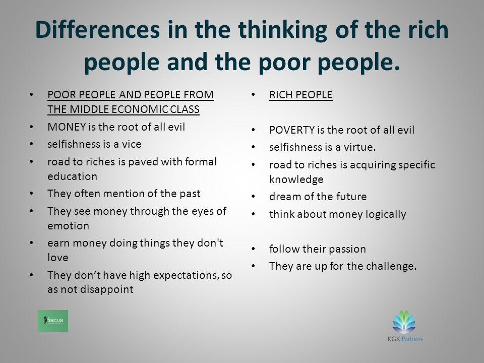Differences in the thinking of the rich people and the poor people.