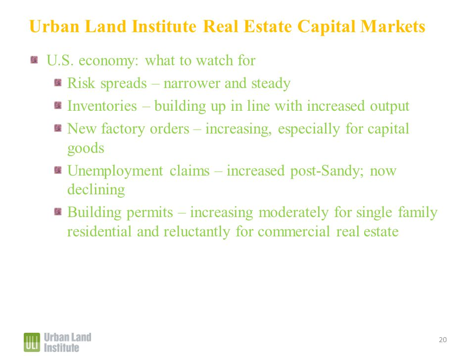 Urban Land Institute Real Estate Capital Markets U.S.
