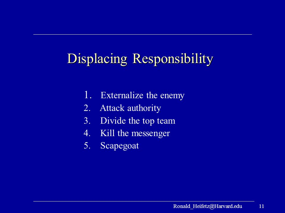 Ronald_Heifetz@Harvard.edu11 Displacing Responsibility 1. Externalize the enemy 2. Attack authority 3. Divide the top team 4. Kill the messenger 5. Sc