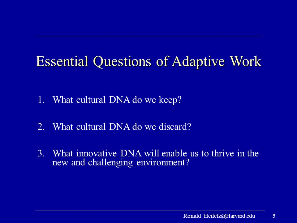 Ronald_Heifetz@Harvard.edu5 Essential Questions of Adaptive Work 1.What cultural DNA do we keep? 2.What cultural DNA do we discard? 3.What innovative