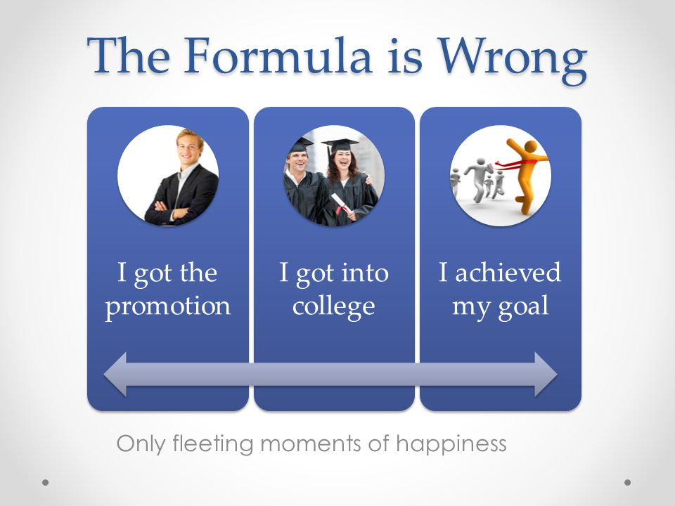 The Formula is Wrong I got the promotion I got into college I achieved my goal Only fleeting moments of happiness