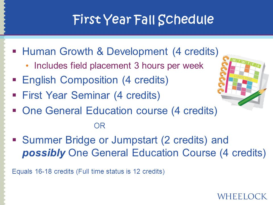  Human Growth & Development (4 credits) Includes field placement 3 hours per week  English Composition (4 credits)  First Year Seminar (4 credits)  One General Education course (4 credits) OR  Summer Bridge or Jumpstart (2 credits) and possibly One General Education Course (4 credits) Equals credits (Full time status is 12 credits) First Year Fall Schedule