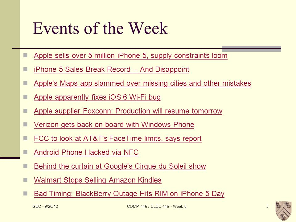 SEC - 9/26/12 COMP 446 / ELEC 446 - Week 64
