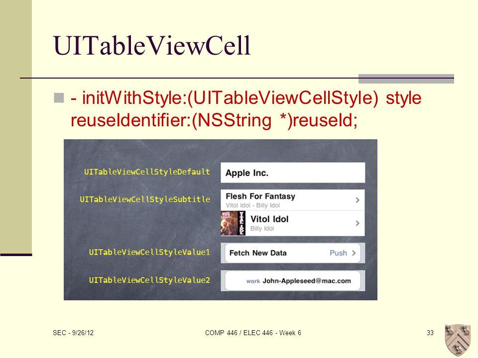 UITableViewCell - initWithStyle:(UITableViewCellStyle) style reuseIdentifier:(NSString *)reuseId; SEC - 9/26/12 COMP 446 / ELEC 446 - Week 633