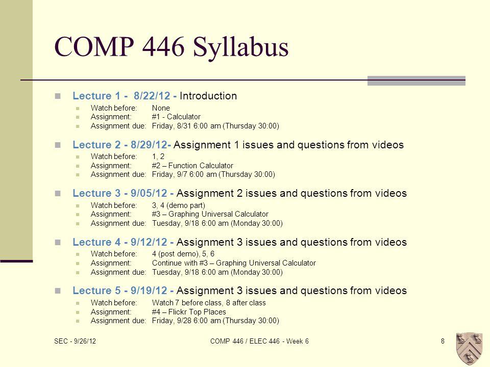 UITableView SEC - 9/26/12 COMP 446 / ELEC 446 - Week 629