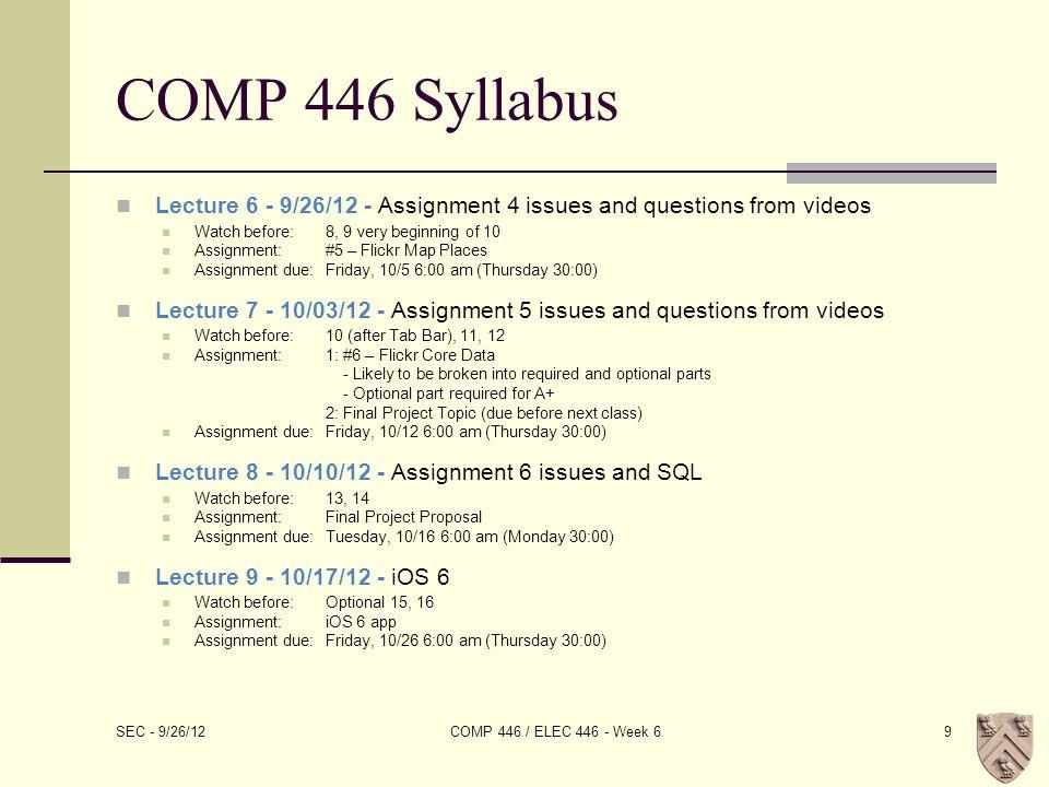 UITableView SEC - 9/26/12 COMP 446 / ELEC 446 - Week 630