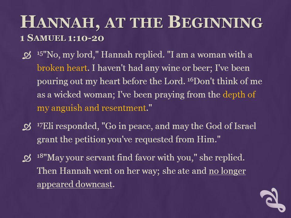 H ANNAH, AT THE B EGINNING 1 S AMUEL 1:10-20  15 No, my lord, Hannah replied.