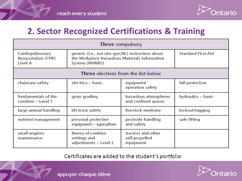 2. Sector Recognized Certifications & Training Certificates are added to the student's portfolio