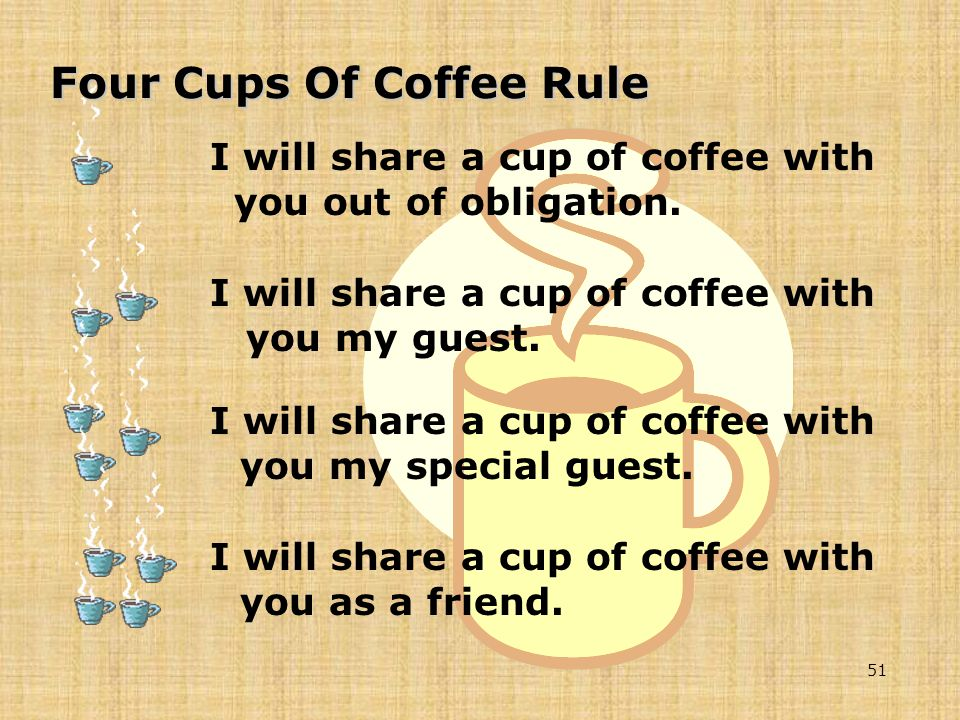 I will share a cup of coffee with you out of obligation.