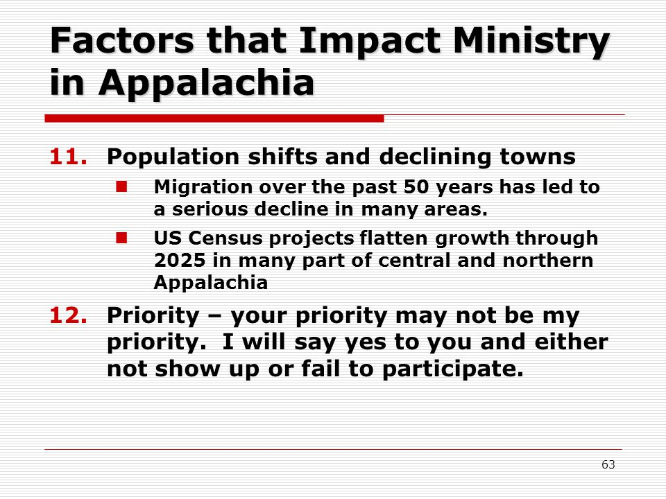 Factors that Impact Ministry in Appalachia 11.Population shifts and declining towns Migration over the past 50 years has led to a serious decline in many areas.