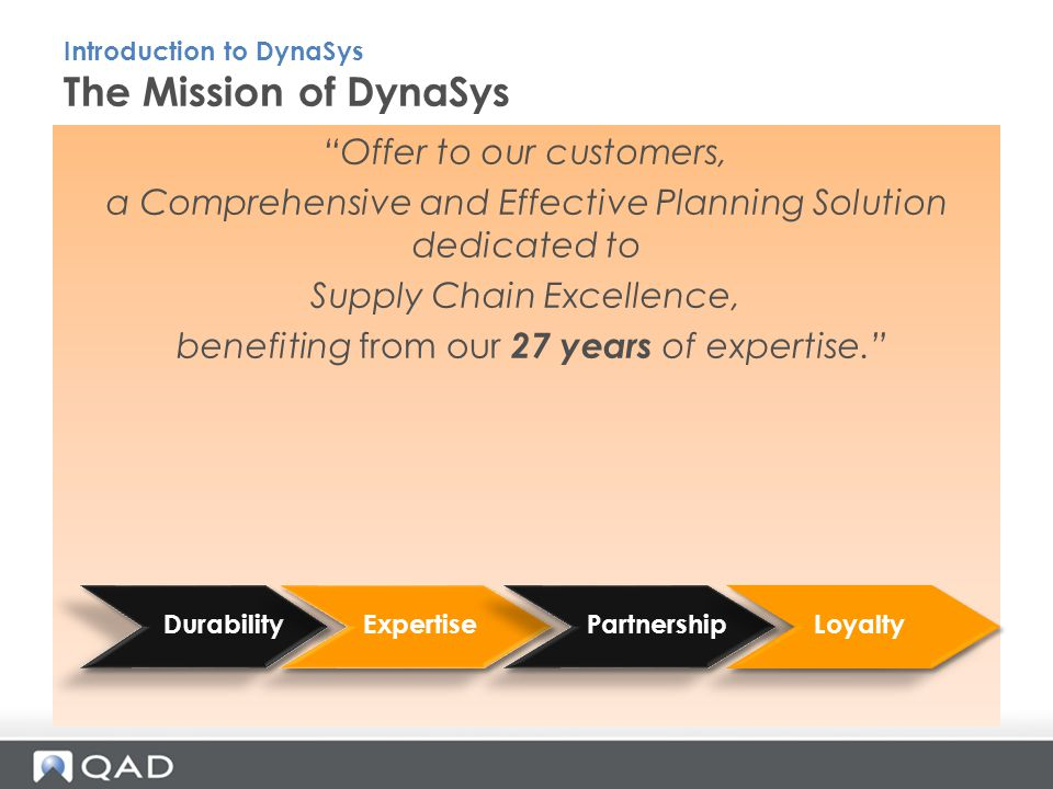 Offer to our customers, a Comprehensive and Effective Planning Solution dedicated to Supply Chain Excellence, benefiting from our 27 years of expertise. The Mission of DynaSys Introduction to DynaSys