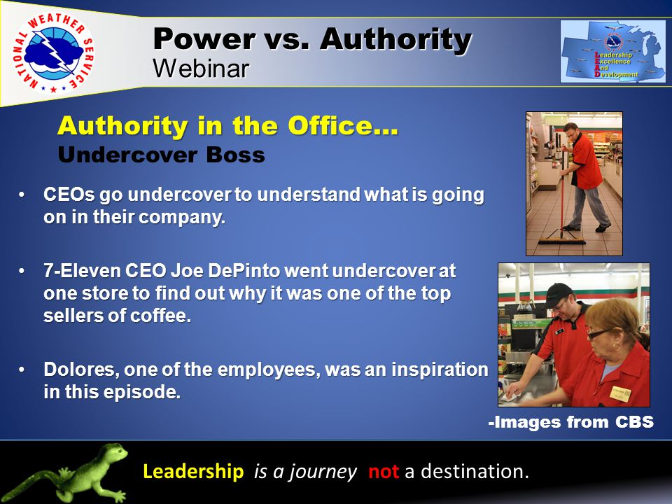 Leadership is a journey not a destination. Power vs.
