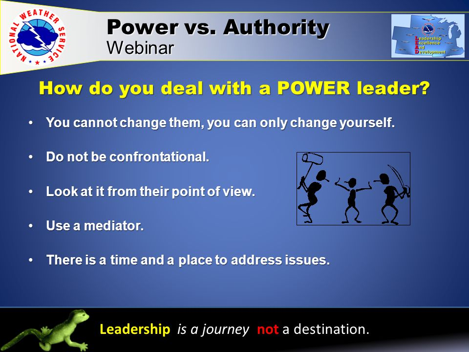 How do you deal with a POWER leader.