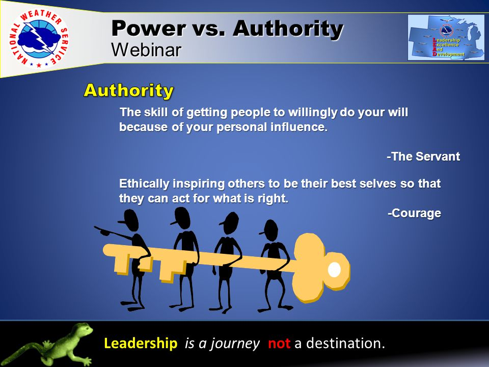 Power vs. Authority Webinar Leadership is a journey not a destination.