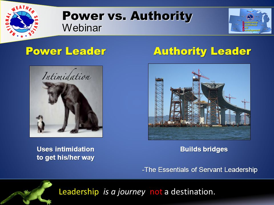 Leadership is a journey not a destination.Power vs.