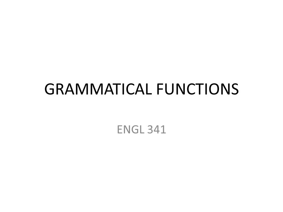 GRAMMATICAL FUNCTIONS ENGL 341