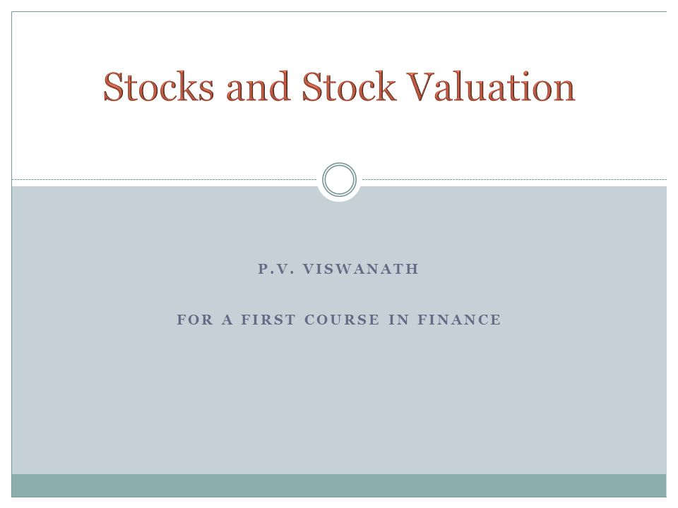 P.V. VISWANATH FOR A FIRST COURSE IN FINANCE
