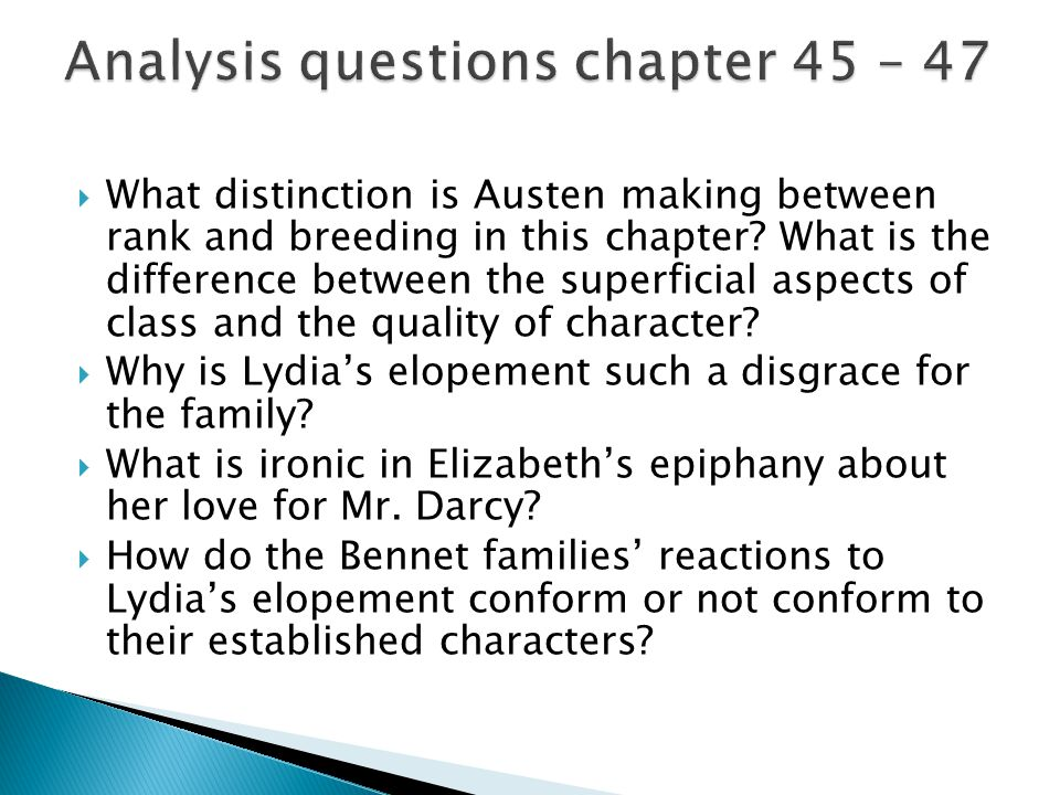  What distinction is Austen making between rank and breeding in this chapter? What is the difference between the superficial aspects of class and the