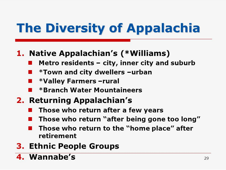 The Diversity of Appalachia 1.Native Appalachian's (*Williams) Metro residents – city, inner city and suburb *Town and city dwellers –urban *Valley Farmers –rural *Branch Water Mountaineers 2.Returning Appalachian's Those who return after a few years Those who return after being gone too long Those who return to the home place after retirement 3.Ethnic People Groups 4.Wannabe's 29
