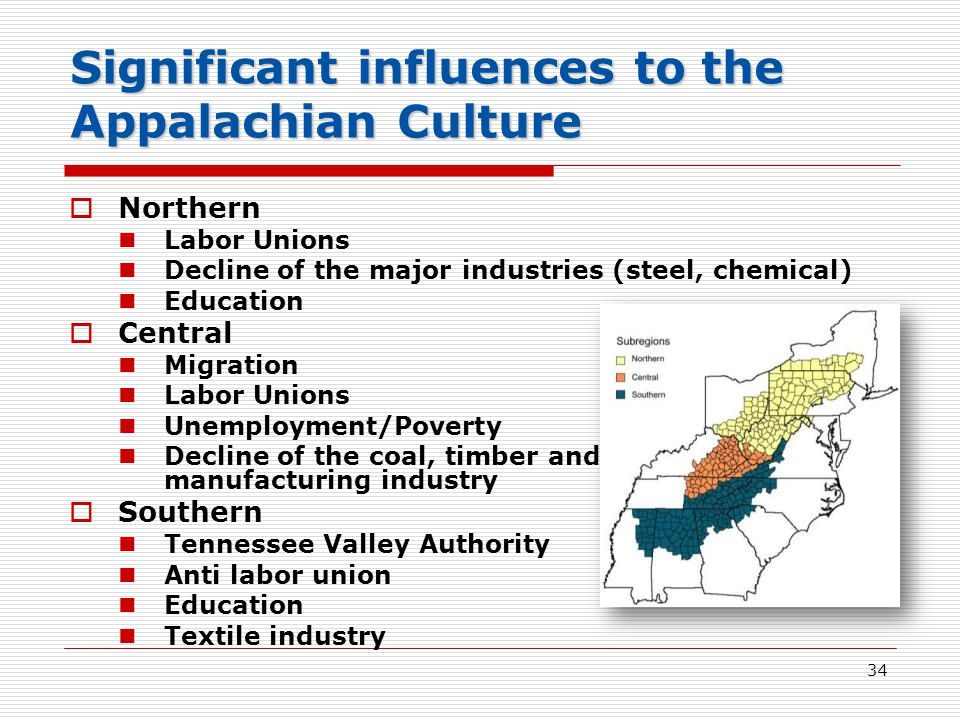 34 Significant influences to the Appalachian Culture  Northern Labor Unions Decline of the major industries (steel, chemical) Education  Central Migration Labor Unions Unemployment/Poverty Decline of the coal, timber and manufacturing industry  Southern Tennessee Valley Authority Anti labor union Education Textile industry