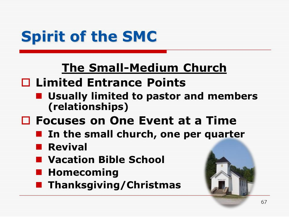 Spirit of the SMC The Small-Medium Church  Limited Entrance Points Usually limited to pastor and members (relationships)  Focuses on One Event at a Time In the small church, one per quarter Revival Vacation Bible School Homecoming Thanksgiving/Christmas 67
