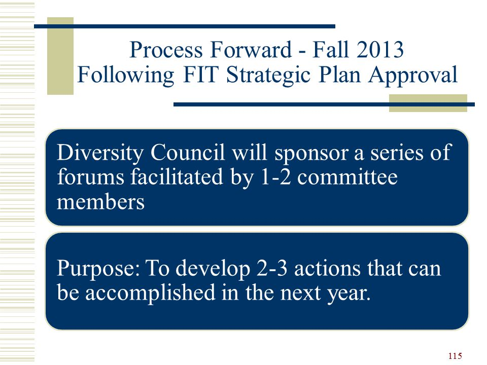 Process Forward - Fall 2013 Following FIT Strategic Plan Approval Diversity Council will sponsor a series of forums facilitated by 1-2 committee members Purpose: To develop 2-3 actions that can be accomplished in the next year.