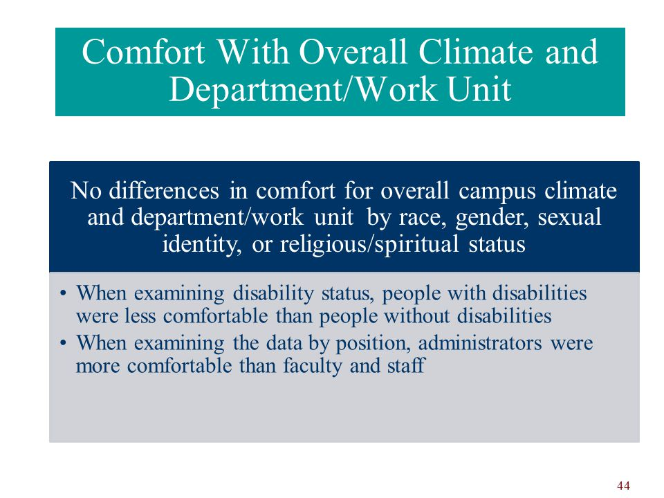 Comfort With Overall Climate and Department/Work Unit No differences in comfort for overall campus climate and department/work unit by race, gender, sexual identity, or religious/spiritual status When examining disability status, people with disabilities were less comfortable than people without disabilities When examining the data by position, administrators were more comfortable than faculty and staff 44