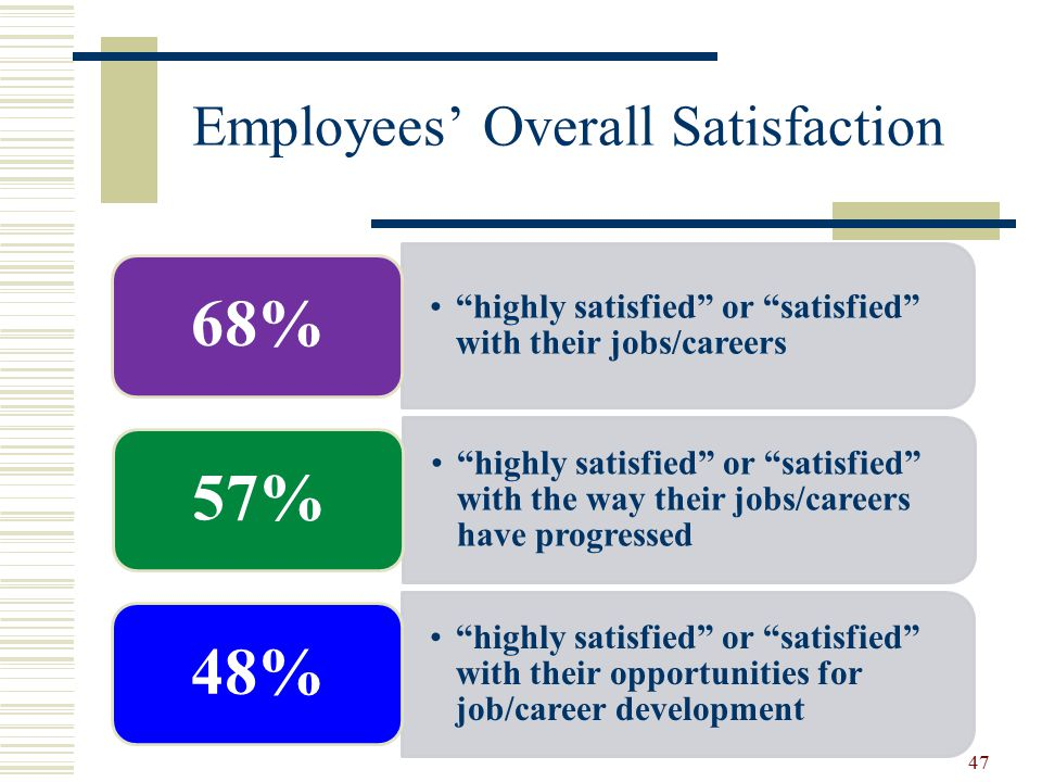 Employees' Overall Satisfaction highly satisfied or satisfied with their jobs/careers 68% highly satisfied or satisfied with the way their jobs/careers have progressed 57% highly satisfied or satisfied with their opportunities for job/career development 48% 47