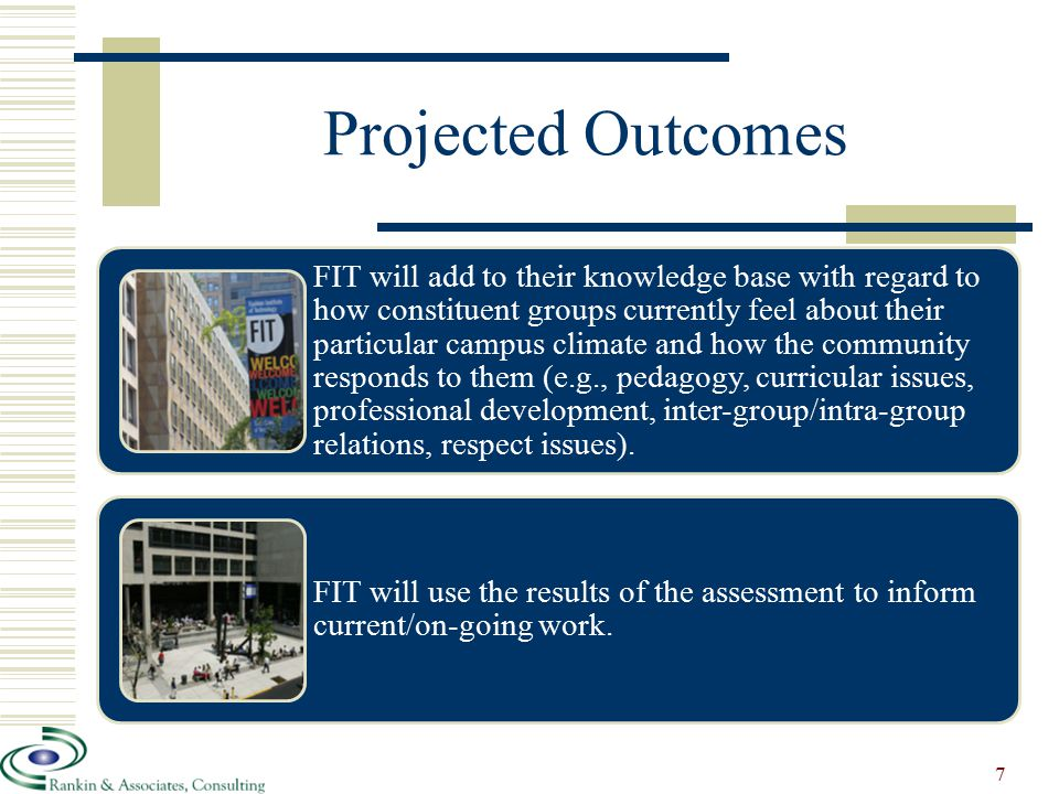 Projected Outcomes FIT will add to their knowledge base with regard to how constituent groups currently feel about their particular campus climate and how the community responds to them (e.g., pedagogy, curricular issues, professional development, inter-group/intra-group relations, respect issues).