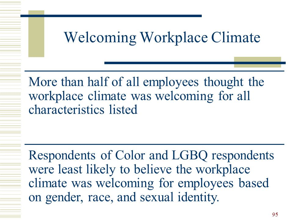Welcoming Workplace Climate More than half of all employees thought the workplace climate was welcoming for all characteristics listed Respondents of Color and LGBQ respondents were least likely to believe the workplace climate was welcoming for employees based on gender, race, and sexual identity.