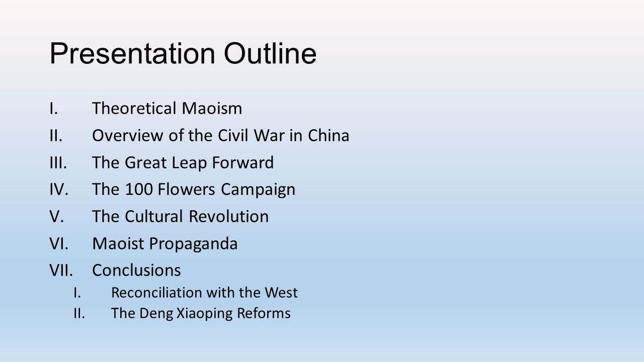 Brief Sketch of the Mao Years KMT-CCP Civil War (1946-1949) Recovery and Socialism (1949-1956) Rethinking the Soviet Model (1956-1957) Great Leap Forward (1957-1961) Recovery & Growing Elite Division (1962-65) Proletarian Cultural Revolution (1966-1976) Enter Deng (1978)