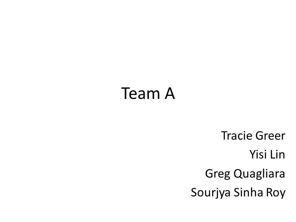 Team A Tracie Greer Yisi Lin Greg Quagliara Sourjya Sinha Roy