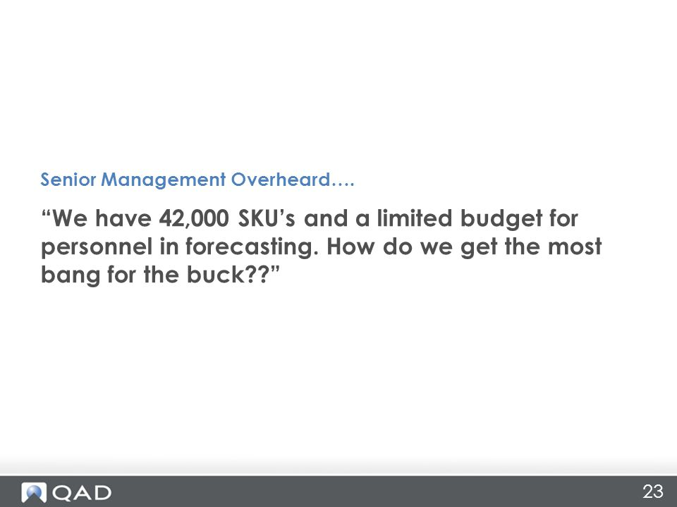 23 We have 42,000 SKU's and a limited budget for personnel in forecasting.