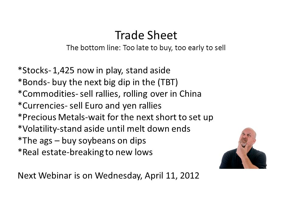 Trade Sheet The bottom line: Too late to buy, too early to sell *Stocks- 1,425 now in play, stand aside *Bonds- buy the next big dip in the (TBT) *Commodities- sell rallies, rolling over in China *Currencies- sell Euro and yen rallies *Precious Metals-wait for the next short to set up *Volatility-stand aside until melt down ends *The ags – buy soybeans on dips *Real estate-breaking to new lows Next Webinar is on Wednesday, April 11, 2012
