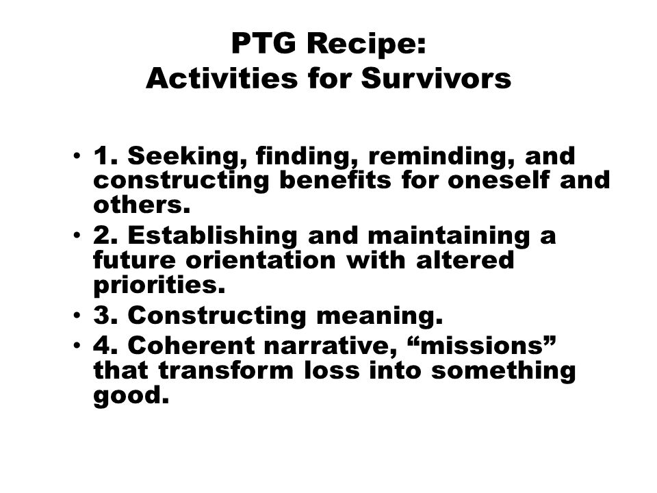 PTG Recipe: Activities for Survivors 1.