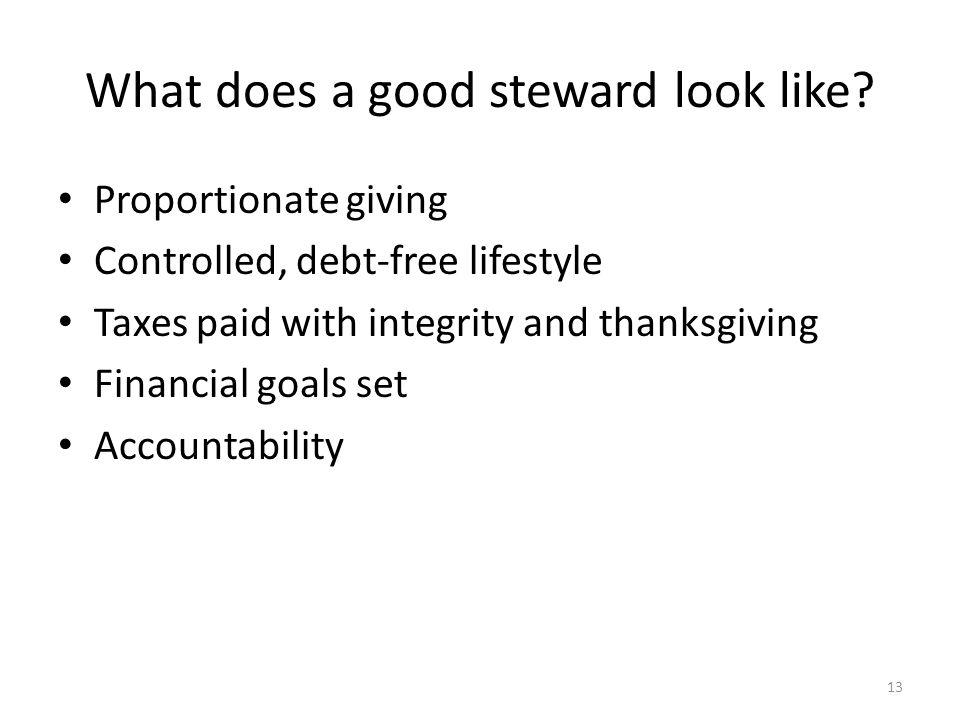 What does a good steward look like.