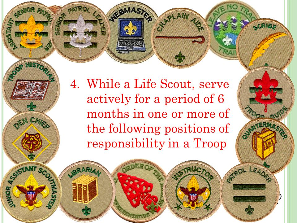 4.While a Life Scout, serve actively for a period of 6 months in one or more of the following positions of responsibility in a Troop