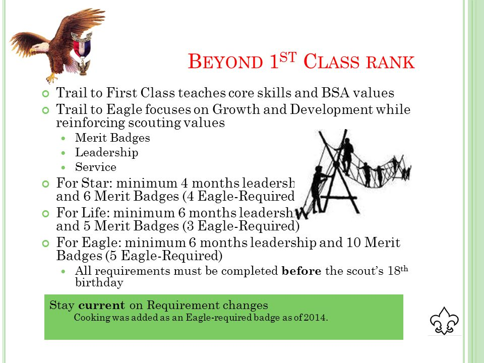 B EYOND 1 ST C LASS RANK Trail to First Class teaches core skills and BSA values Trail to Eagle focuses on Growth and Development while reinforcing scouting values Merit Badges Leadership Service For Star: minimum 4 months leadership and 6 Merit Badges (4 Eagle-Required) For Life: minimum 6 months leadership and 5 Merit Badges (3 Eagle-Required) For Eagle: minimum 6 months leadership and 10 Merit Badges (5 Eagle-Required) All requirements must be completed before the scout's 18 th birthday Stay current on Requirement changes Cooking was added as an Eagle-required badge as of 2014.