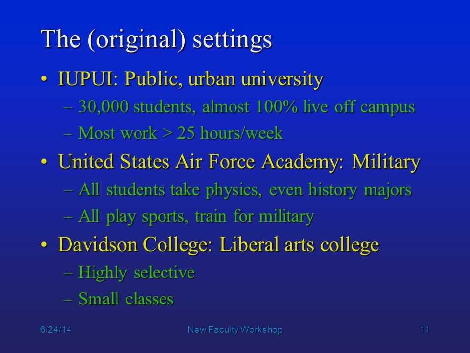 11 6/24/14New Faculty Workshop The (original) settings IUPUI: Public, urban universityIUPUI: Public, urban university –30,000 students, almost 100% li