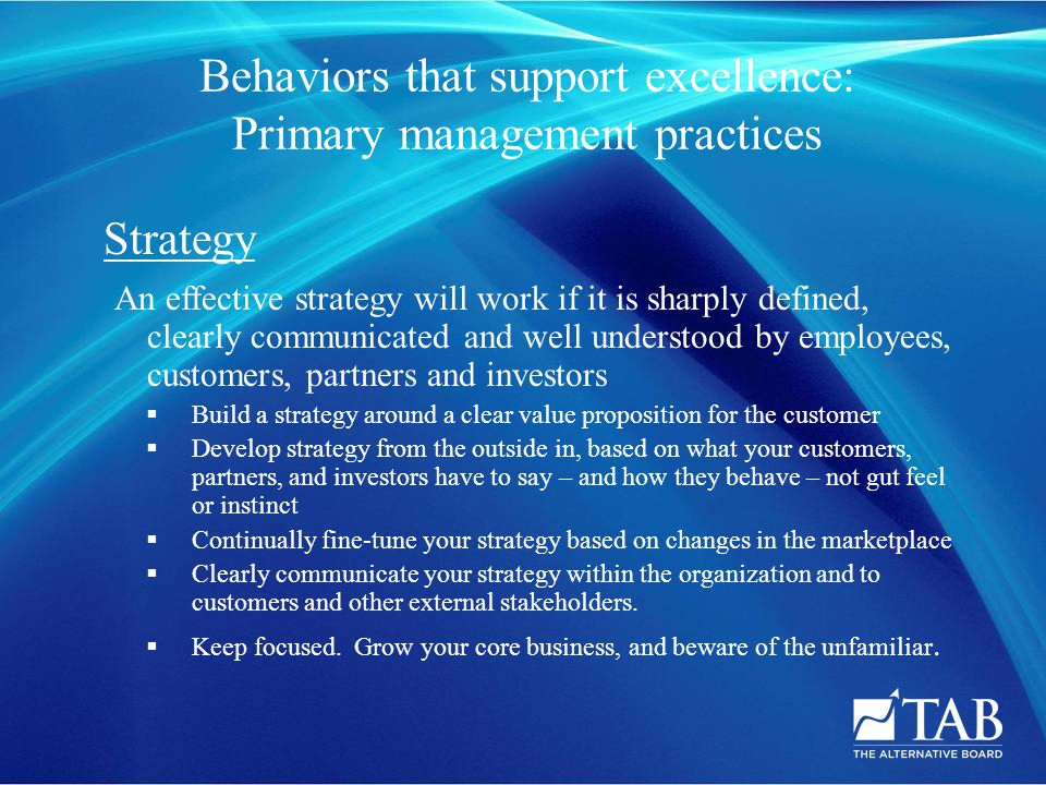 Strategy An effective strategy will work if it is sharply defined, clearly communicated and well understood by employees, customers, partners and investors  Build a strategy around a clear value proposition for the customer  Develop strategy from the outside in, based on what your customers, partners, and investors have to say – and how they behave – not gut feel or instinct  Continually fine-tune your strategy based on changes in the marketplace  Clearly communicate your strategy within the organization and to customers and other external stakeholders.