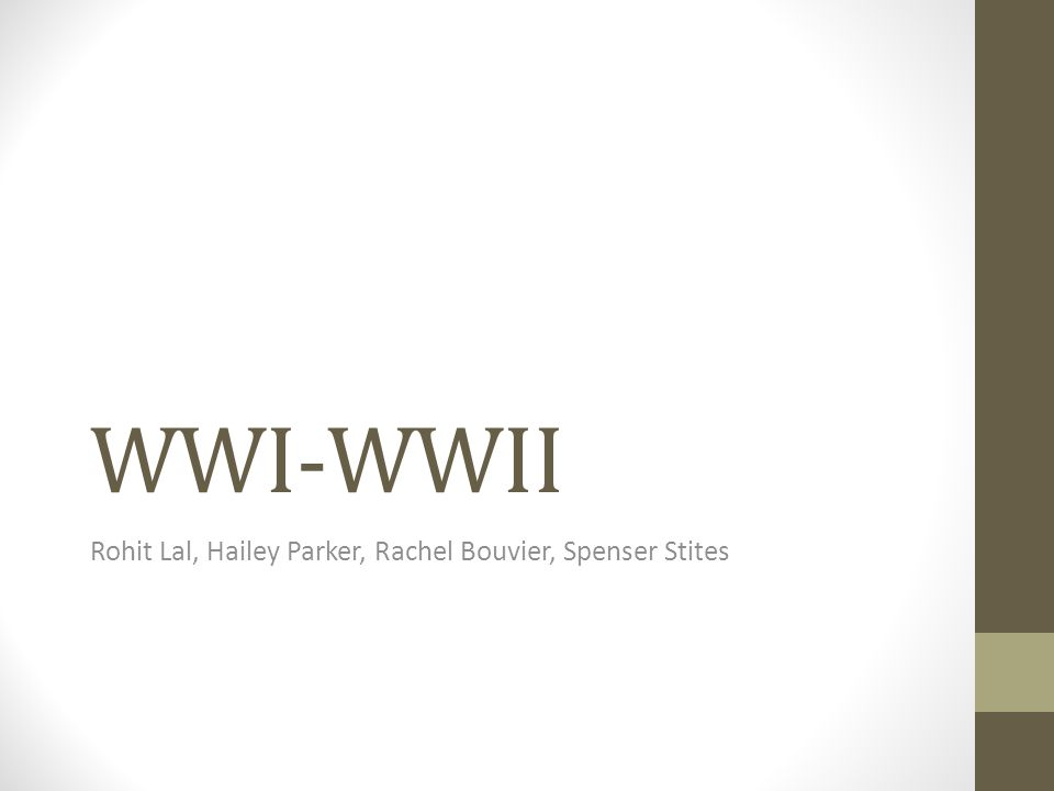 WWI-WWII Rohit Lal, Hailey Parker, Rachel Bouvier, Spenser Stites