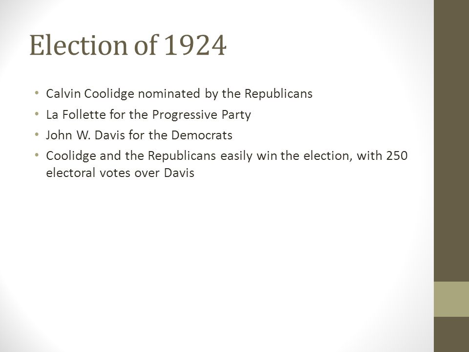 Election of 1924 Calvin Coolidge nominated by the Republicans La Follette for the Progressive Party John W.