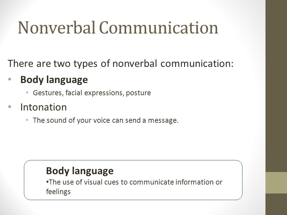 Nonverbal Communication There are two types of nonverbal communication: Body language Gestures, facial expressions, posture Intonation The sound of your voice can send a message.